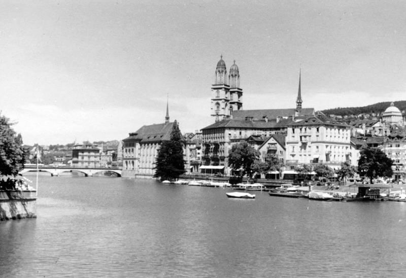 boot, brücke, Grossmünster, münsterbrücke, turm, Zürich