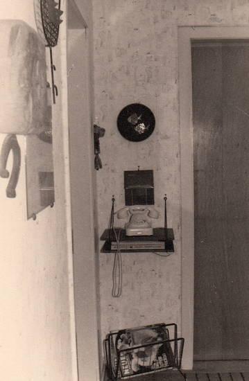 Diele, Eingangstür, einrichtung, flur, sessel, tapete, telefon, Wohnung, zeitungsständer