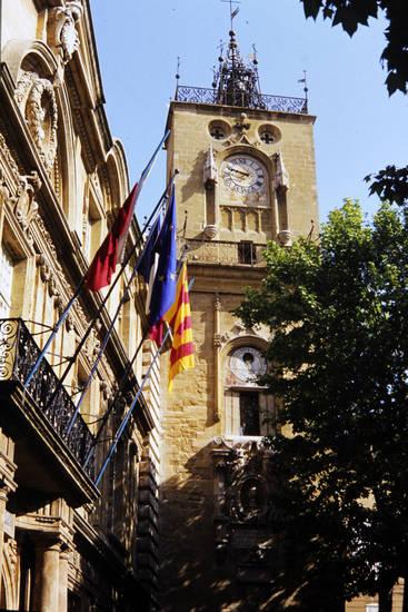 aix-en-provence, flagge, Tour de l'Horloge, turm, Turm Horloge, uhr