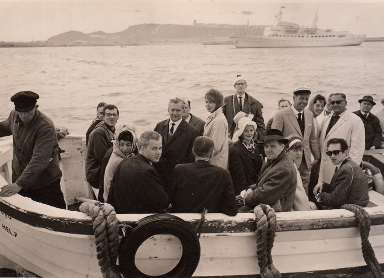 anzug, boot, gruppenfoto, helgoland, Kopftuch, mantel, nordsee, schiff