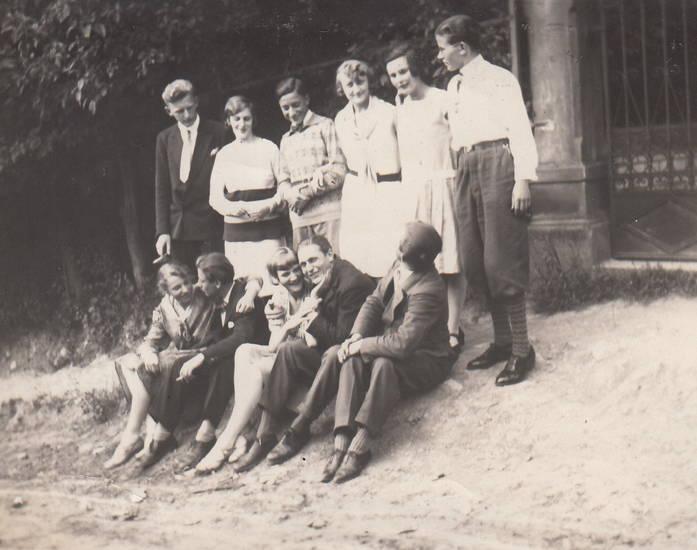 ausflug, gruppenfoto, jugend, Rhein, Rolandseck