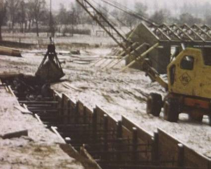 Bau der Rheinbrücke