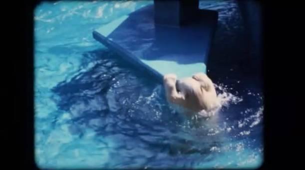 Eisbär springt ins Wasser
